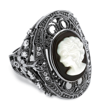 Onyx and Mother of Pearl Cameo and Cubic Zirconia Cocktail Ring in Black Rhodium-Plated