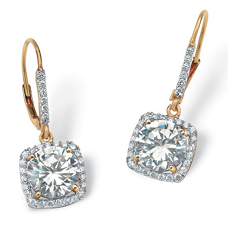 6.54 TCW Round Cubic Zirconia Halo Drop Earrings in 18k Gold over Sterling Silver