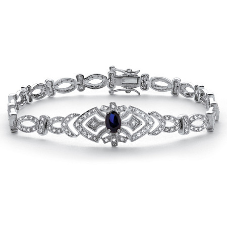 1.30 TCW Sapphire and Cubic Zirconia Vintage Style Bracelet in Platinum over Sterling Silver