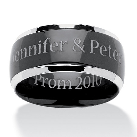 Personalized ring in Black Ion-Plated Stainless Steel