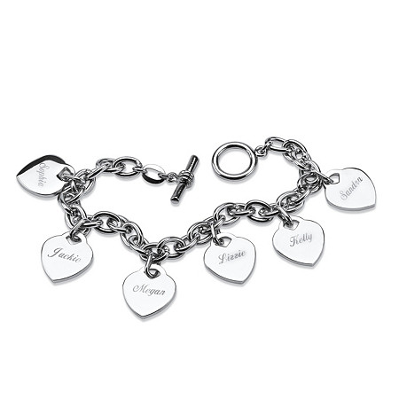 Personalized 6 Heart Charm Toggle Bracelet in Silvertone