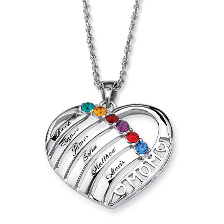 Personalized Birthstone Mom Necklace in Silvertone