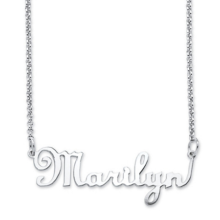 Personalized Script Nameplate Necklace in Sterling Silver