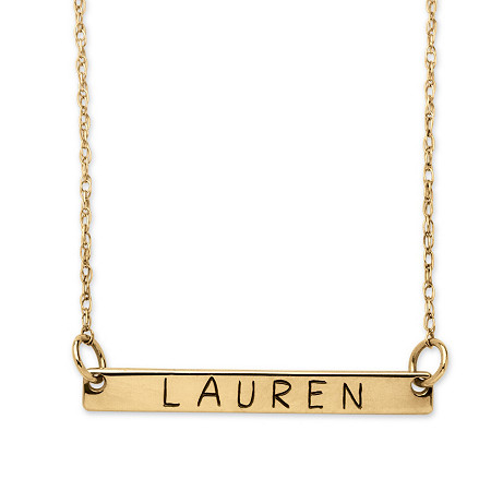 Personalized Gold Bar Necklace in 10k Gold