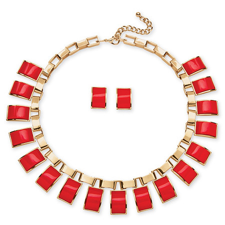 2 Piece Salmon Rectangle Necklace and Earrings Set in Yellow Gold Tone