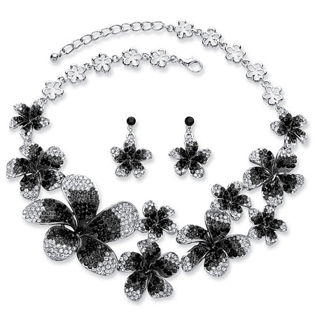 2 Piece Black and Grey Ombre Crystal Flower Bib Necklace and Earrings Set in Silvertone