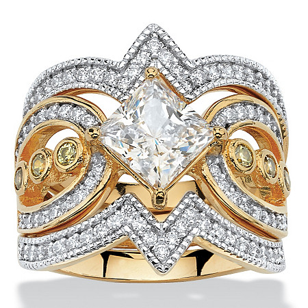 3 Piece 2.19 TCW Princess-Cut Cubic Zirconia Bridal Ring Set in 14k Gold over Sterling Silver