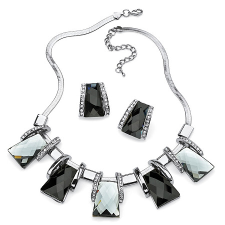 2 Piece Black and Silver Crystal Necklace and Earrings Set in Silvertone