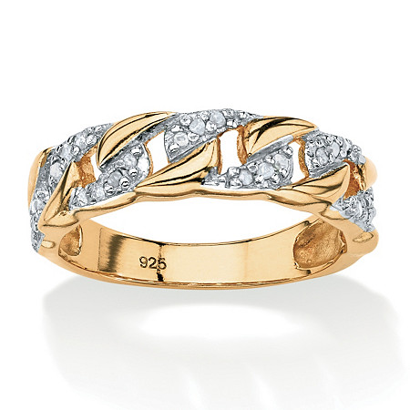 1/10 TCW Round Diamond Curb Link Ring in 18k Gold over Sterling Silver