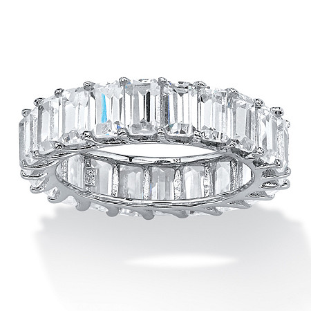6.44 TCW Emerald-Cut Cubic Zirconia Band in Platinum over Sterling Silver