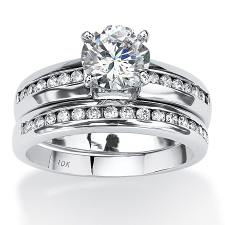 2 Piece 1.90 TCW Round Cubic Zirconia Bridal Ring Set in 10k White Gold
