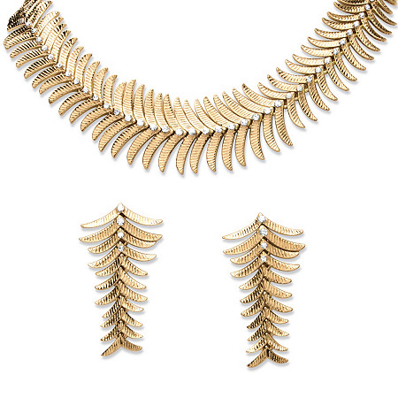 2 Piece Fern Necklace and Earrings Set in Yellow Gold Tone