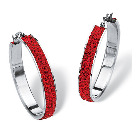 Pave Birthstone Hoop Earrings in Stainless Steel