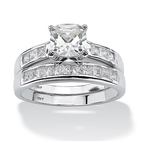 2 Piece 1.94 TCW Cushion-Cut Cubic Zirconia Bridal Ring Set in 10k White Gold