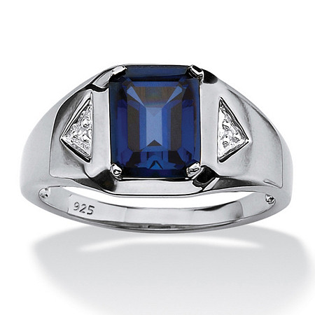 Men's 2.21 TCW Emerald-Cut Sapphire and Diamond Accented Ring in Platinum over Sterling Silver