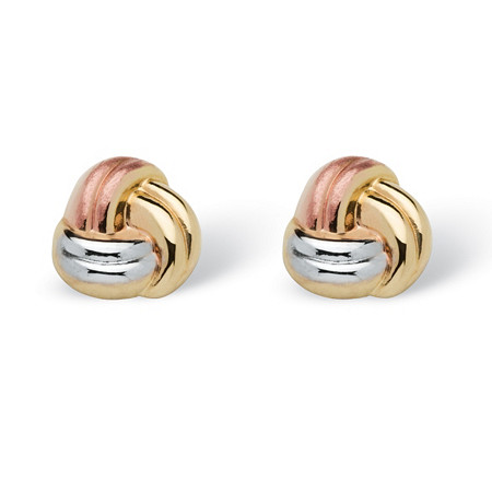 Love Knot Earrings in Tri-Tone 10k Gold