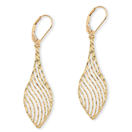 Laser-Cut Leaf Earrings in 10k Gold