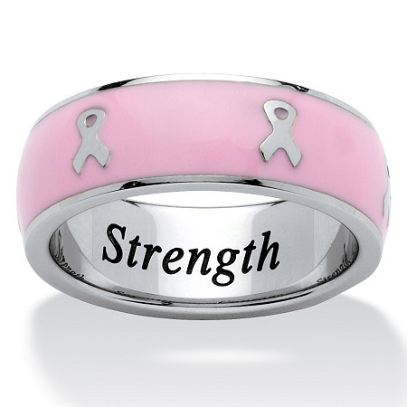 Breast Cancer Awareness Ribbon Eternity Band Stainless Steel