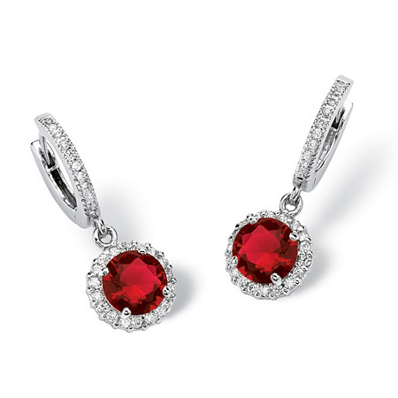 Round Birthstone and Cubiz Zirconia Halo Hoop Drop Earrings in Silvertone