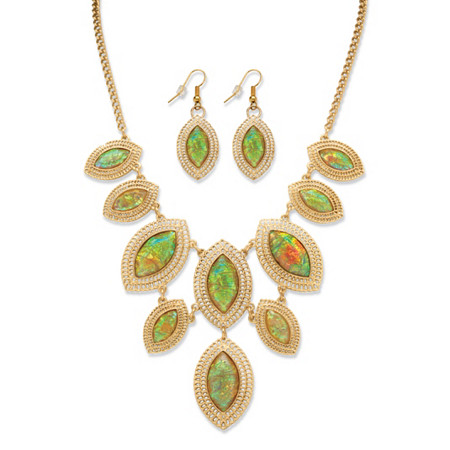 2 Piece Marquise-Shaped Iridescent Crystal Necklace and Earring Set in Yellow Gold Tone