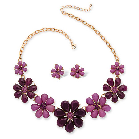 Plum and Lavendar Crystal Flower Necklace and Earrings Set in Yellow Gold Tone
