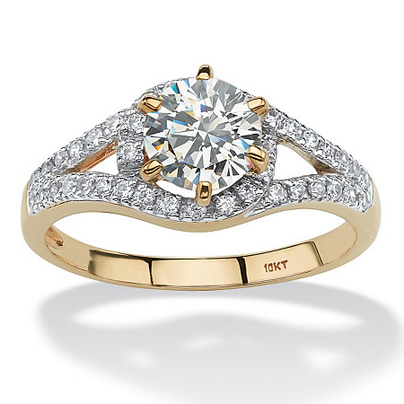 1.52 TCW Round Cubic Zirconia Split Shank Ring in 10k Gold