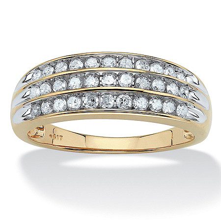 1/2 TCW Round Channel-Set Diamond Triple Row Ring in 10k Gold