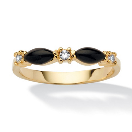 Marquise-Shaped Genuine Onyx Crystal Accent 14k Yellow Gold-Plated Band Ring