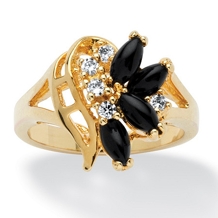 Marquise-Shaped Onyx and Crystal Swirl Ring in 14k Gold-Plated
