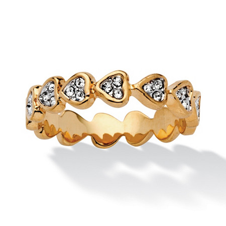 Round Crystal 14k Yellow Gold-Plated Band of Hearts Ring