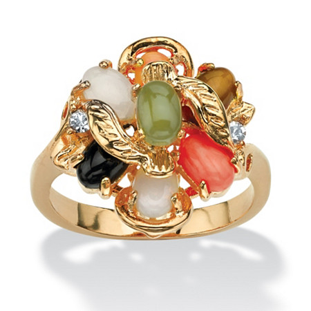 Oval-Shaped Coral, Opal, Jade, Onyx and Tiger's-Eye Cluster Ring in 14k Gold-Plated