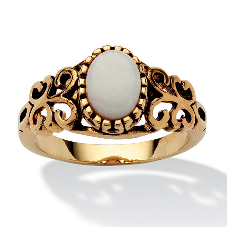 3/4-Carat Oval-Cut Genuine Opal 14k Yellow Gold-Plated Antique-Finish Classic Filigree Ring