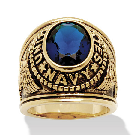 Men's Oval Cut Simulated Sapphire 14k Yellow Gold-Plated Antique-Finish Navy Ring