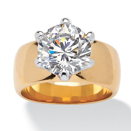 4 Carat Round Cubic Zirconia Solitaire Ring in 14k Gold-Plated