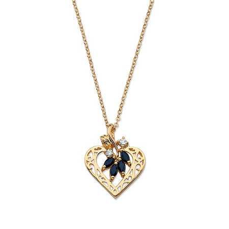 1.60 TCW Marquise Cut Genuine Midnight Sapphire and CZ Heart Pendant Necklace in Yellow Gold Tone