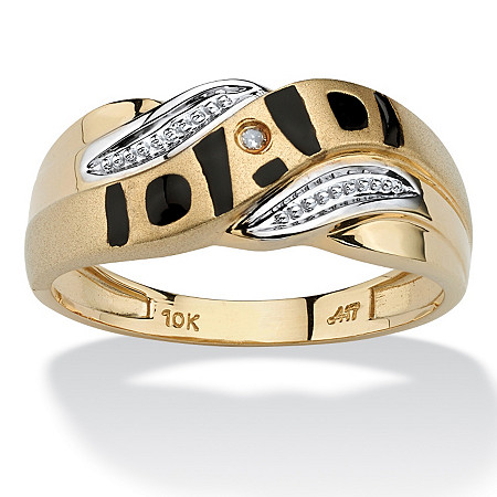 Men's Diamond Accent 10k Yellow Gold Dad I.D. Ring