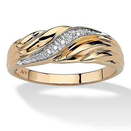 Men's Diamond Accent 10k Gold Swirled Wedding Band Ring