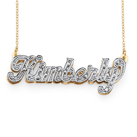 1/8 TCW Diamond 10k Gold Personalized Nameplate Pendant 18