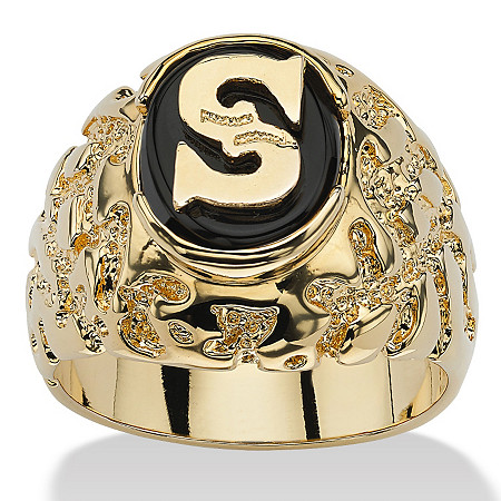Men's Oval-Shaped Genuine Onyx 14k Yellow Gold-Plated Personalized I.D. Nugget-Style Initial Ring