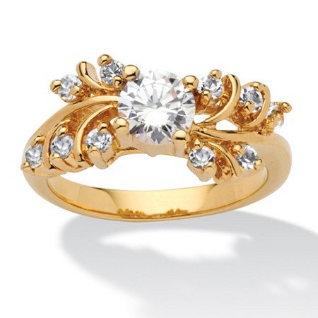 .80 TCW Round Cubic Zirconia 14k Yellow Gold-Plated Wedding Band Ring