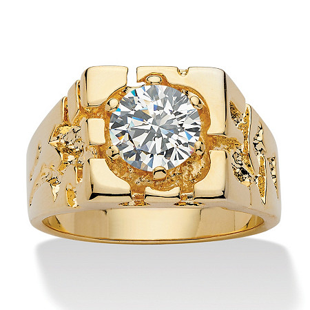 Men's 2.00 TCW Round Cubic Zirconia 14k Yellow Gold-Plated Nugget-Style Ring