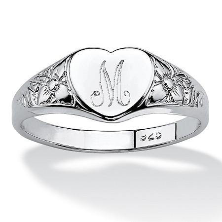 Sterling Silver Initial Heart Ring