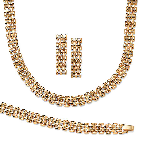 3 Piece Panther-Link Necklace, Bracelet and Earrings Set in Yellow Gold Tone