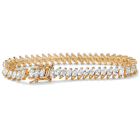 13.25 TCW Marquise-Cut Cubic Zirconia 14k Yellow Gold-Plated Tennis Bracelet 7 1/4