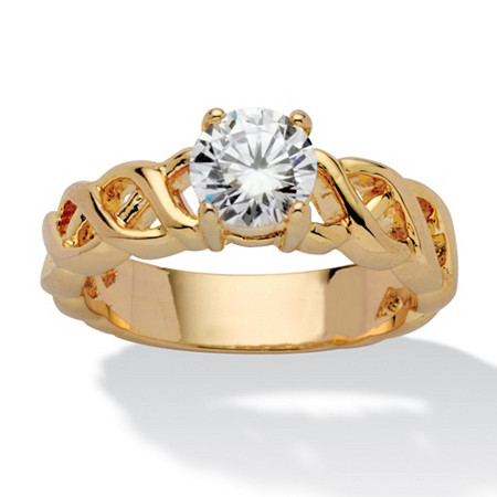 1.08 TCW Round Cubic Zirconia 14k Yellow Gold Plated Solitaire Bridal Engagement Lattice Ring