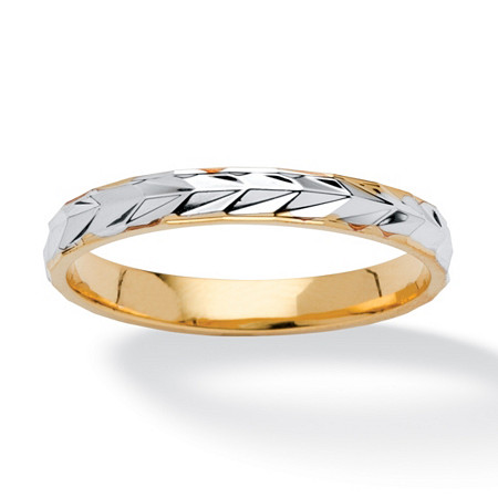 14k Yellow Gold-Plated Two-Tone Wedding Band
