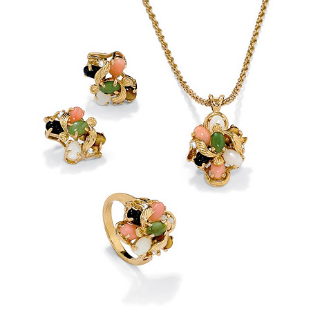 Coral, Opal, Jade, Onyx, Tiger's-Eye 14k Yellow Gold-Plated Necklace, Bracelet and Ring Set