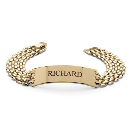 Men's Personalized I.D. Panther-Link Name Bracelet in Yellow Gold Tone 8
