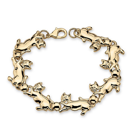 Playful Cat Link Bracelet in Yellow Gold Tone 8