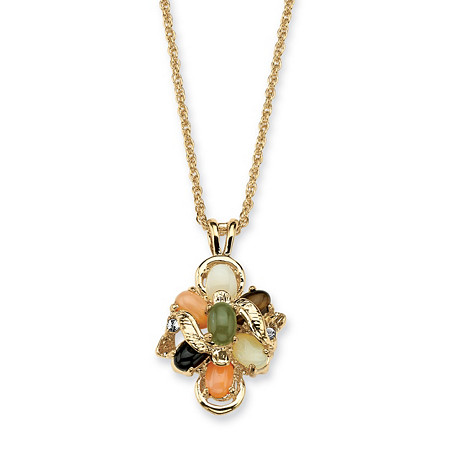 1/4 TCW Oval Shaped Multi-Gemstone Crystal Accent Goldtone Metal Drop Pendant and Chain 18